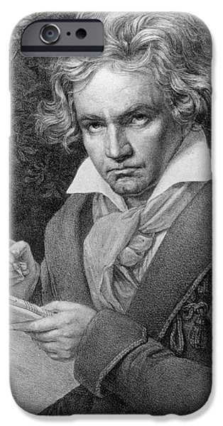 Celebrities Art Drawings iPhone Cases - Ludwig van Beethoven iPhone Case by Joseph Carl Stieler