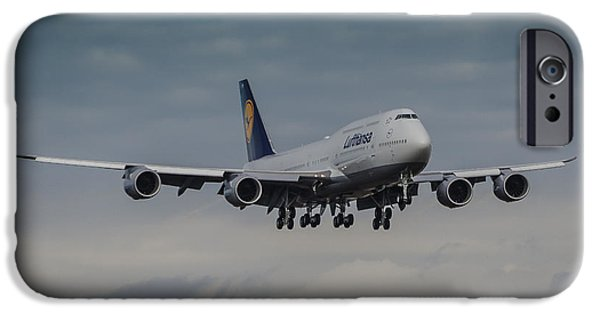 Airliner iPhone Cases - Lufthansa Boeing 747 Landing  iPhone Case by Puget  Exposure