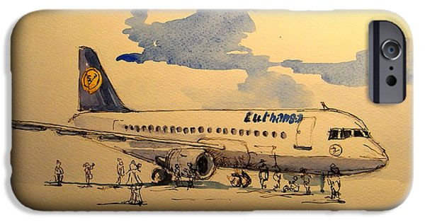 Berlin Paintings iPhone Cases - Lufthansa plane iPhone Case by Juan  Bosco