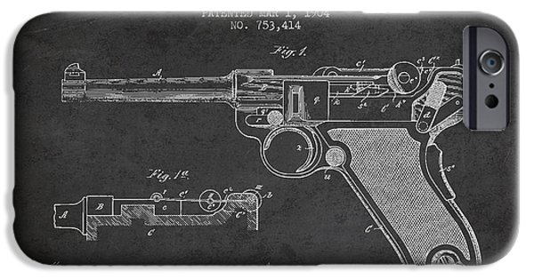 Weapon iPhone Cases - Lugar Small Arms Patent Drawing from 1904 - Dark iPhone Case by Aged Pixel