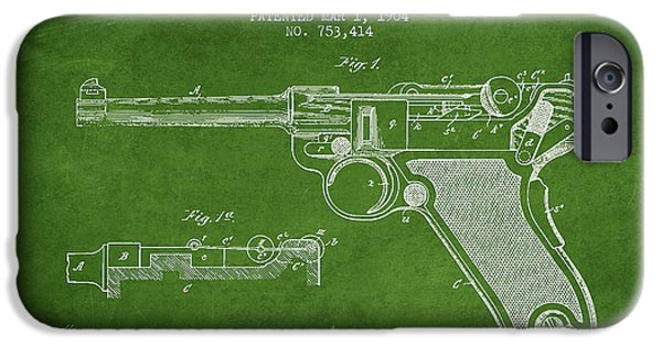 Weapon iPhone Cases - Lugar Small Arms Patent Drawing from 1904 - Green iPhone Case by Aged Pixel