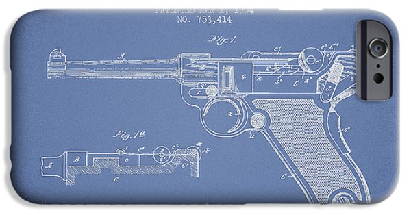 Weapon iPhone Cases - Lugar Small Arms Patent Drawing from 1904 - Light Blue iPhone Case by Aged Pixel