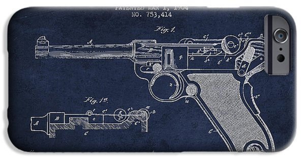 Weapon iPhone Cases - Lugar Small Arms Patent Drawing from 1904 - Navy Blue iPhone Case by Aged Pixel
