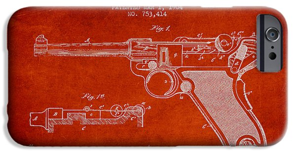 Weapon iPhone Cases - Lugar Small Arms Patent Drawing from 1904 - Red iPhone Case by Aged Pixel