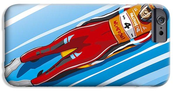 Men iPhone Cases - Luge Racer Winter Sport iPhone Case by Frank Ramspott