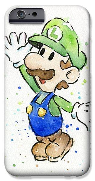 Geek Mixed Media iPhone Cases - Luigi Watercolor iPhone Case by Olga Shvartsur