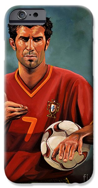 Sports Paintings iPhone Cases - Luis Figo iPhone Case by Paul  Meijering