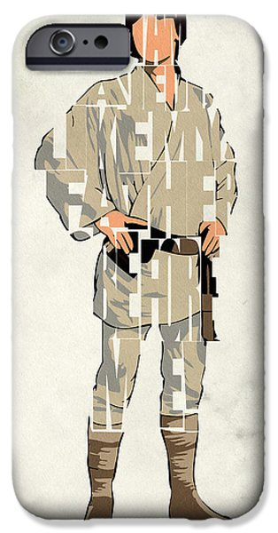 Wall Art Digital Art iPhone Cases - Luke Skywalker - Mark Hamill  iPhone Case by Ayse Deniz