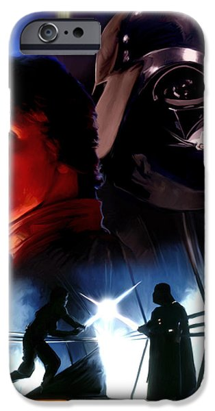 Fight Digital iPhone Cases - Luke Skywalker vs Darth Vader iPhone Case by Paul Tagliamonte