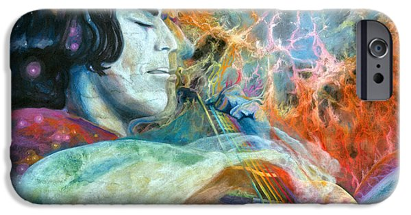 Brain Paintings iPhone Cases - Lullabies for Nebulas iPhone Case by Kd Neeley