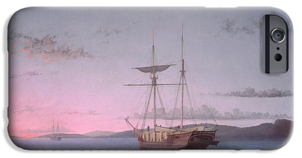 Penobscot Bay Paintings iPhone Cases - Lumber Schooners at Evening on Penobscot Bay iPhone Case by Fitz Henry Lane