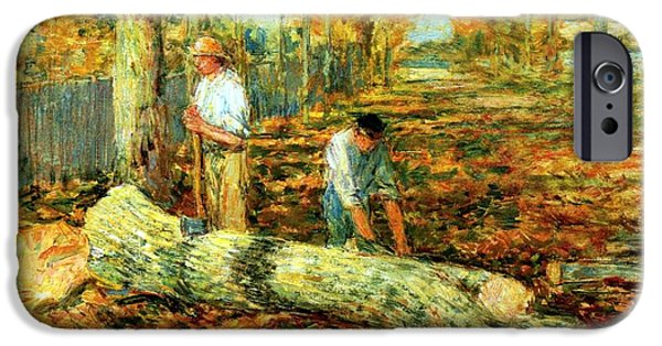 Hassam iPhone Cases - Lumbering 1903 iPhone Case by Frederick Childe Hassam