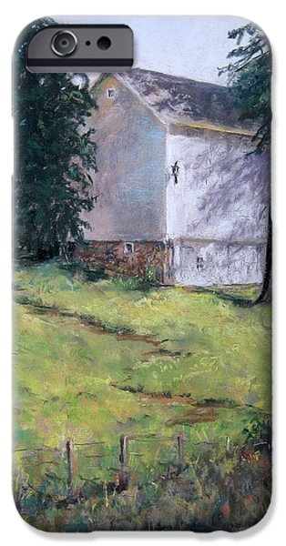 Barns Pastels iPhone Cases - Lumbering Barn iPhone Case by Paula Wild