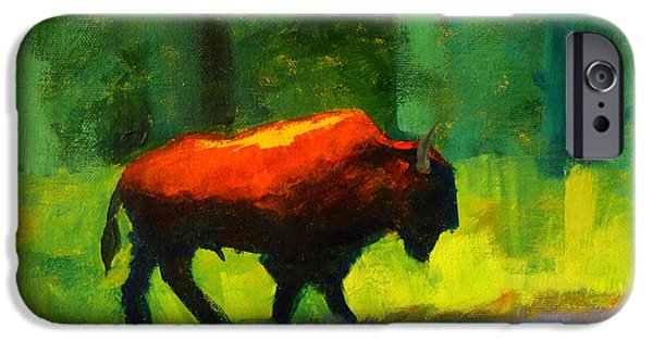 Business Paintings iPhone Cases - Lumbering iPhone Case by Nancy Merkle