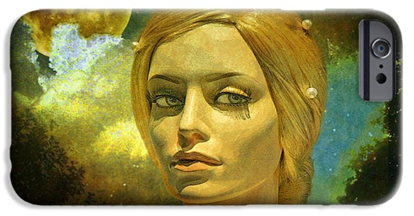 Mixed Media iPhone Cases - Luna in the Garden of Evil iPhone Case by Chuck Staley