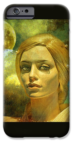 Original Mixed Media iPhone Cases - Luna in the Garden of Evil iPhone Case by Chuck Staley