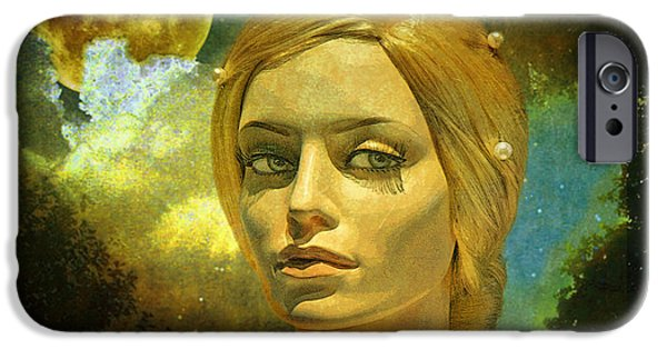 Staley Mixed Media iPhone Cases - Luna in the Garden of Evil iPhone Case by Chuck Staley