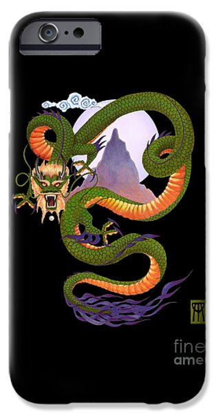 Realistic Art iPhone Cases - Lunar Chinese Dragon on Black iPhone Case by Melissa A Benson