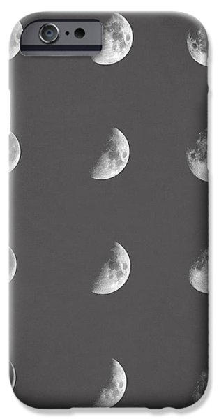 First Star iPhone Cases - Lunar phases iPhone Case by Taylan Soyturk