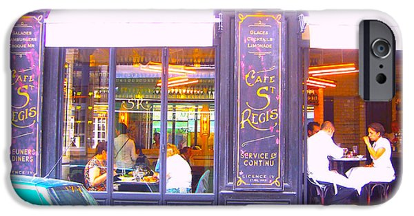 Table Wine iPhone Cases - Lunch time at the Cafe St Regis in Paris iPhone Case by Jan Matson