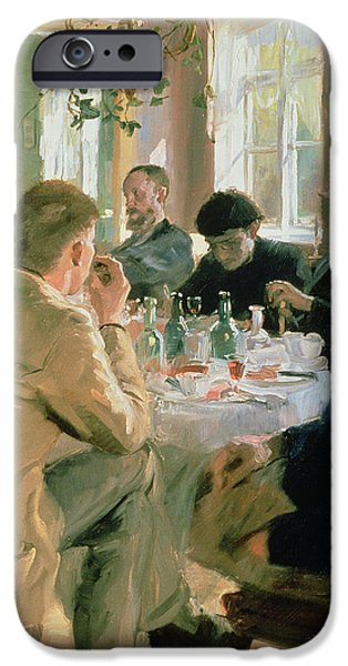 Painter Photographs iPhone Cases - Lunchtime, 1883 iPhone Case by Peder Severin Kroyer