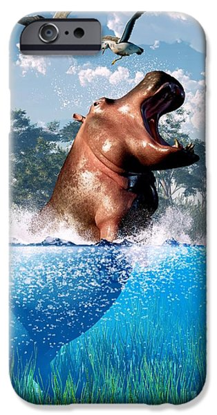 Hippopotamus Digital Art iPhone Cases - Lunging Hippo  iPhone Case by Daniel Eskridge