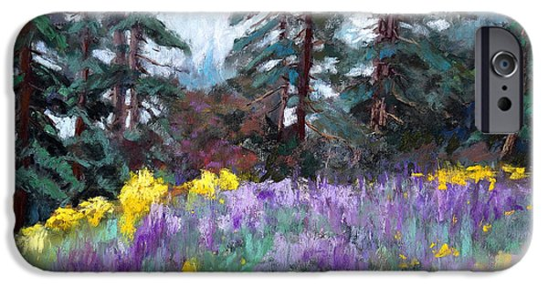Rainy Day Pastels iPhone Cases - Lupine Hill iPhone Case by Arlene Baller
