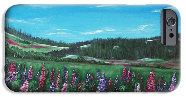 Meadow Drawings iPhone Cases - Lupine Hills iPhone Case by Anastasiya Malakhova