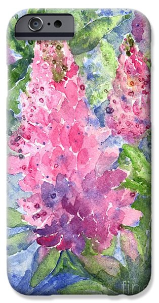 Botanical Pastels iPhone Cases - Lupine Time iPhone Case by Carol Wisniewski