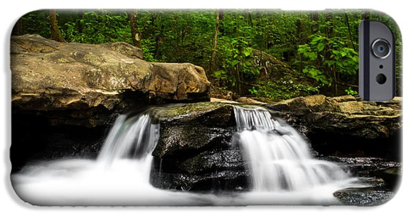 Nature Scene iPhone Cases - Luscious Waterfall at Moss Rock Preserve iPhone Case by Shelby  Young