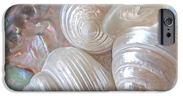 Abalones iPhone Cases - Lustrous Shells iPhone Case by Gill Billington