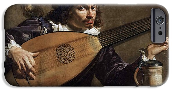 Lute Paintings iPhone Cases - Lute Player iPhone Case by Theodoor Rombouts