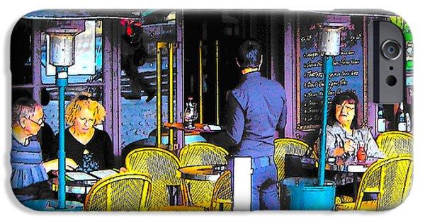 Waiter Digital iPhone Cases - Cafe Lutetia Ile Saint Louis Paris iPhone Case by Jan Matson