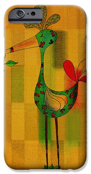 Shape Drawings iPhone Cases - Lutgardes Bird - 061109106-wyel iPhone Case by Variance Collections
