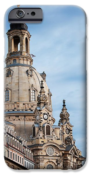 City Pyrography iPhone Cases - Lutheran church in Dresden iPhone Case by Jelena Jovanovic