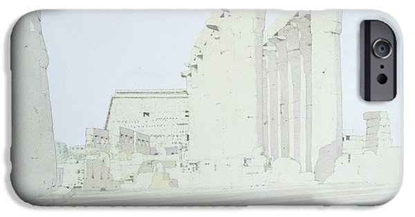 Thebes iPhone Cases - Luxor Temple Wc On Paper iPhone Case by Charlie Millar