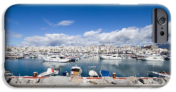 Spanish House iPhone Cases - Luxury Marina of Puerto Banus Skyline iPhone Case by Artur Bogacki