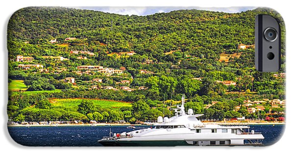 Wealth iPhone Cases - Luxury yacht at the coast of French Riviera iPhone Case by Elena Elisseeva