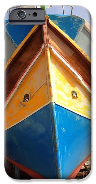 Horus iPhone Cases - Luzzu fishing boat iPhone Case by Noa Yerushalmi
