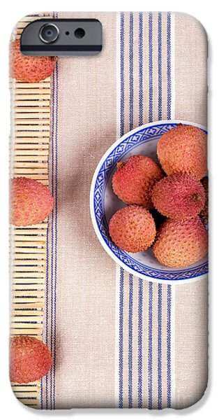Berry iPhone Cases - Lychess with bamboo mat iPhone Case by Jane Rix