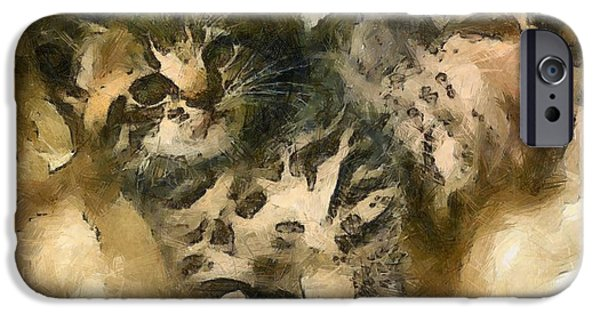 Young Paintings iPhone Cases - Lying Kitten iPhone Case by Victor Gladkiy