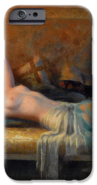 Lying Nude In A Bed Of Roses iPhone Case by Delphin Enjolras