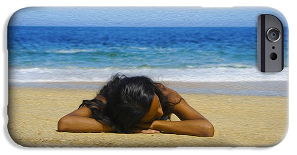 Pleasure Digital Art iPhone Cases - Lying on the beach iPhone Case by Aged Pixel