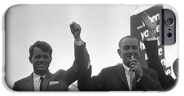 Democratic Party iPhone Cases - Lyndon Johnson With Robert Kennedy iPhone Case by War Is Hell Store