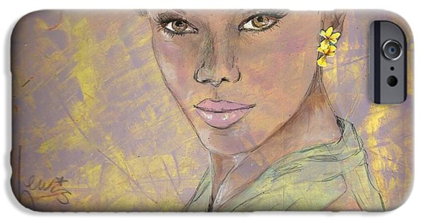 African-american Drawings iPhone Cases - Lynette iPhone Case by P J Lewis