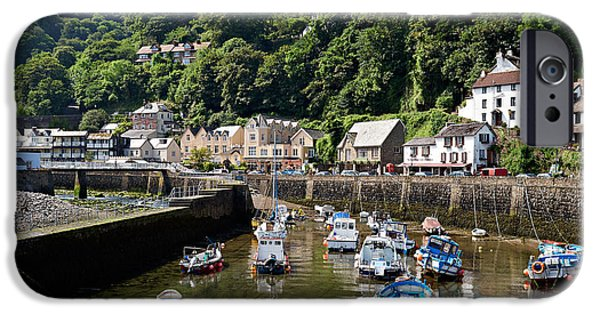 Incoming Tide iPhone Cases - Lynmouth Harbour in early morning at low tide iPhone Case by Louise Heusinkveld