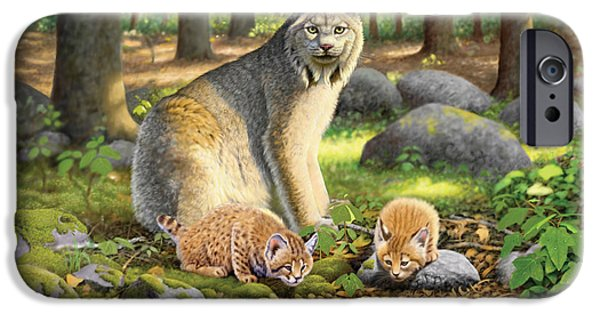 Lynx iPhone Cases - Lynx And Kittens iPhone Case by Chris Heitt