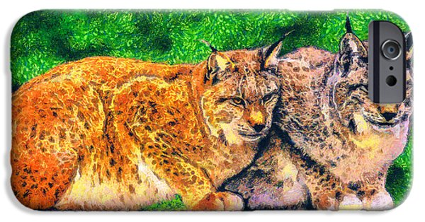 Arctic Drawings iPhone Cases - Lynx iPhone Case by George Rossidis