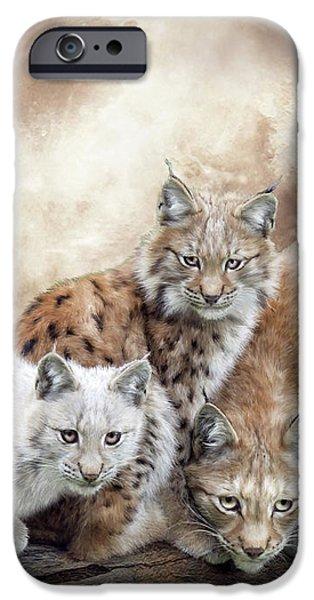 Power Animal iPhone Cases - Lynx Moon iPhone Case by Carol Cavalaris