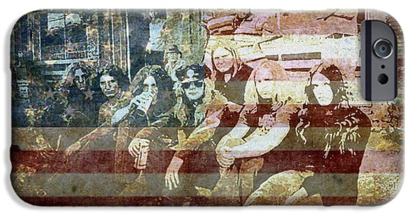 American Flag Digital iPhone Cases - Lynyrd Skynyrd - Simple Man iPhone Case by Absinthe Art By Michelle LeAnn Scott